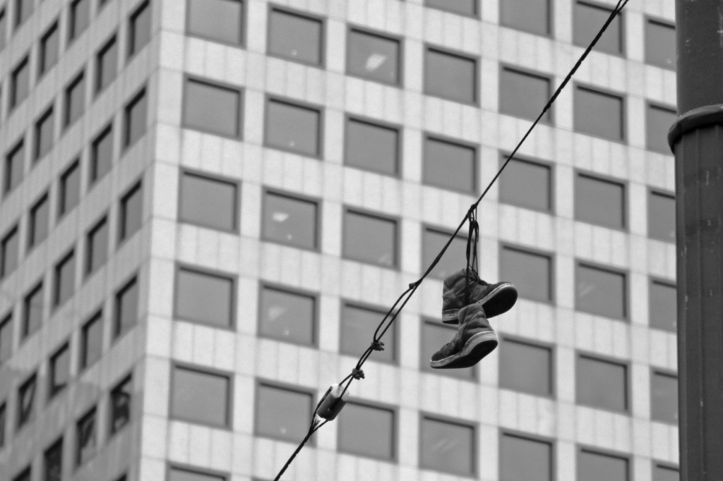 Shoes On The Wire...Why?  Corner of 4th and Pine by seattle