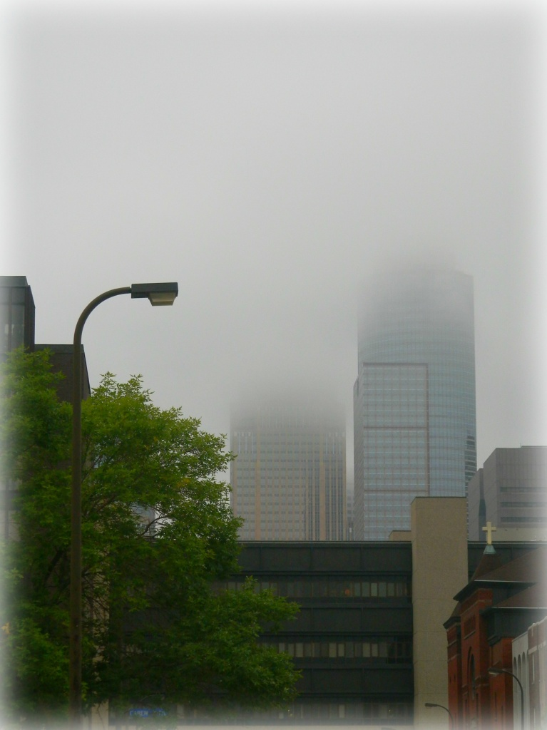 morning fog in the city by pfmandeville