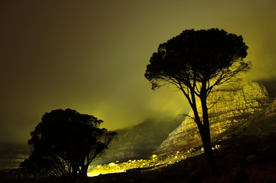 Table Mountain lit up in Yellow for the World Design Capital bid by eleanor