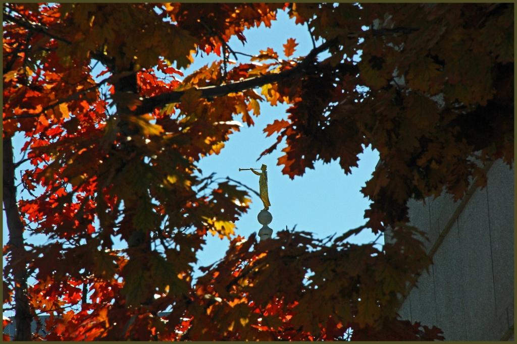 Statue through Autumn Foilage by hjbenson