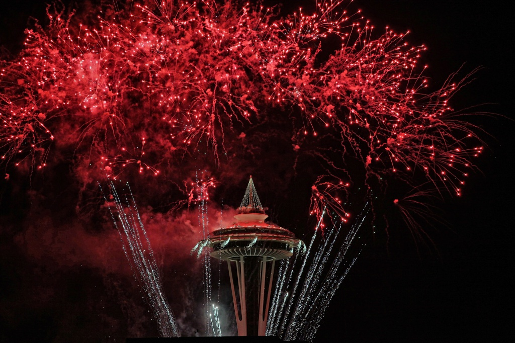 Red Hot Ending To 2011 From The Space Needle! by seattle