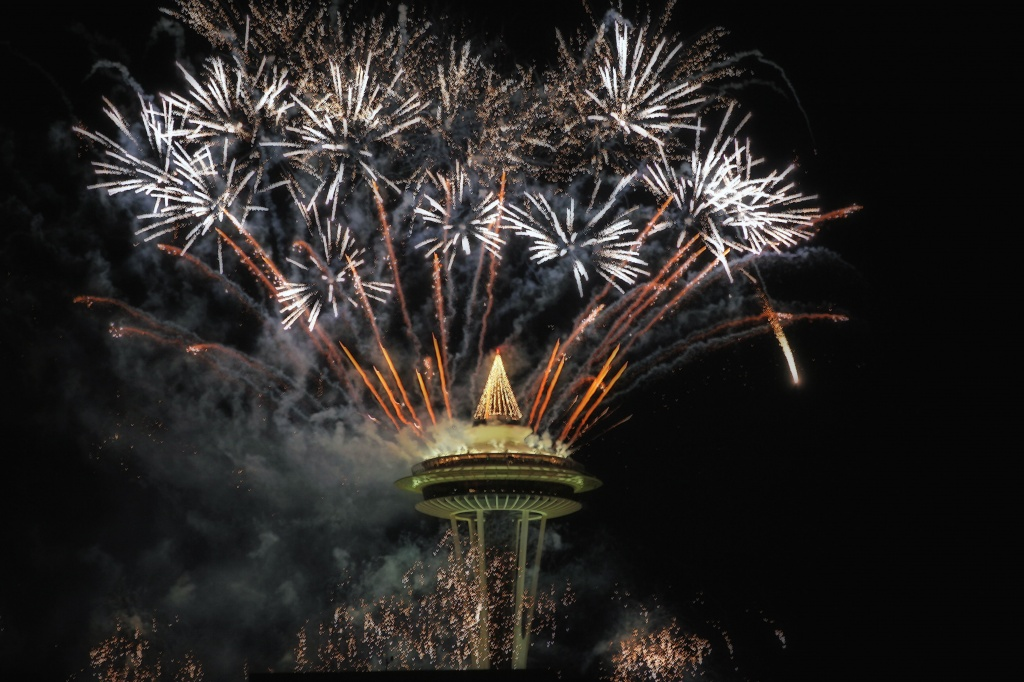 Golden Bright Start To 2012 From The Space Needle  by seattle