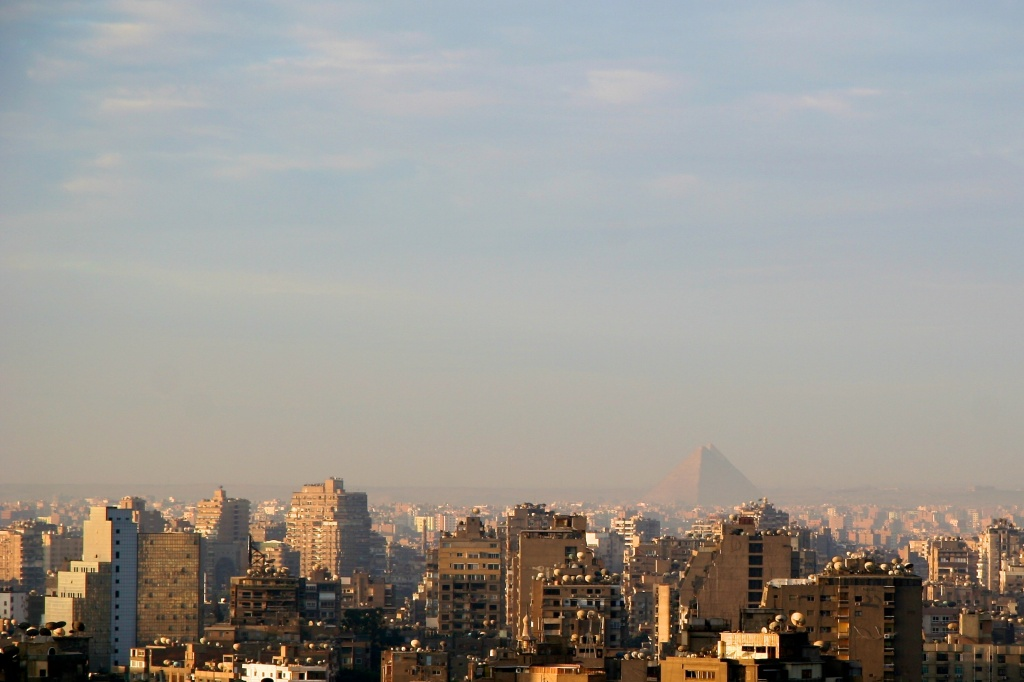 early morning Cairo and pyramids from my balcony by lbmcshutter
