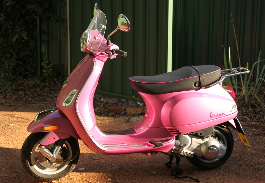 my new portable bird hide - Vespa LX 150 ie - Rosa Chic - only 2 this colour in Canberra and 200 in Australia by lbmcshutter