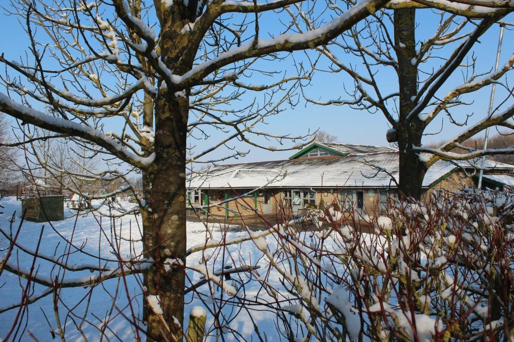 Gt Wilbraham School through the snowy trees by kimcrisp
