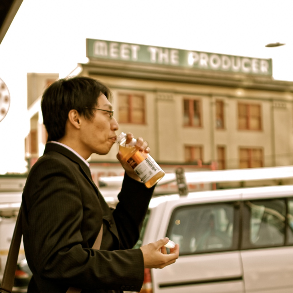 With Vitamin Water In Hand, He Is Off To Meet The Producer! by seattle