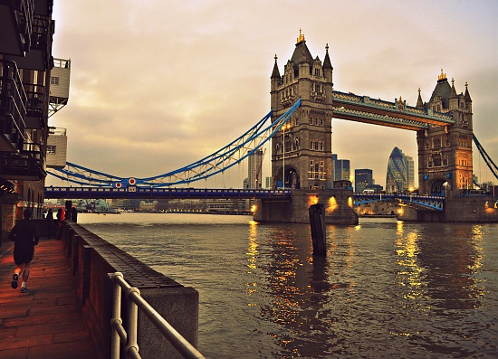 Jogging by Tower Bridge by andycoleborn