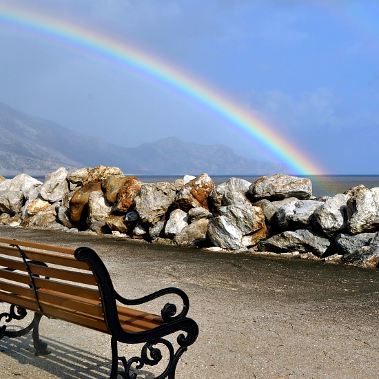 Bench Rainbow and Rocks by joannapayne