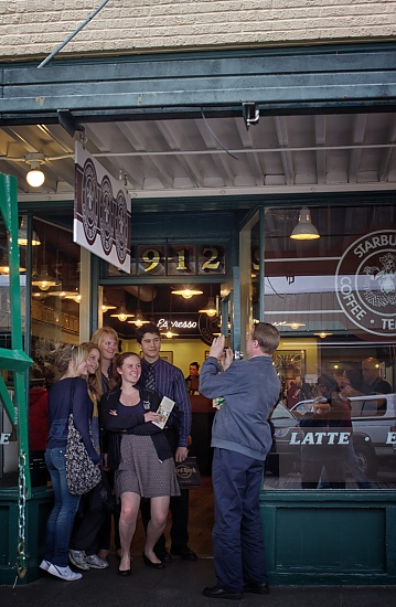 Another Family Photo In Front Of The Original Starbucks Coffee Shop! by seattle