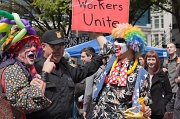 1st May 2012 - May Day Protest Demonstration In Seattle...  Bonding With The Police...Earlier Anarchists Smashed Windows Downtown!