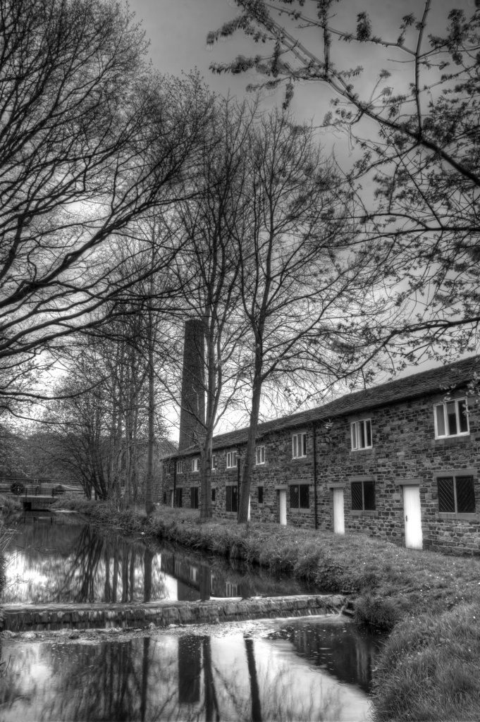 Burrs Mill workers cottages B&W by bluefirebucket
