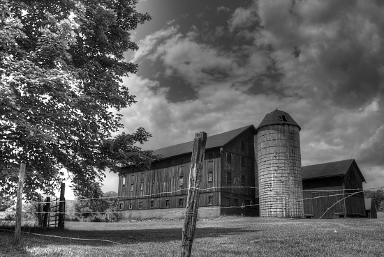 Barn and silo in the country by mittens