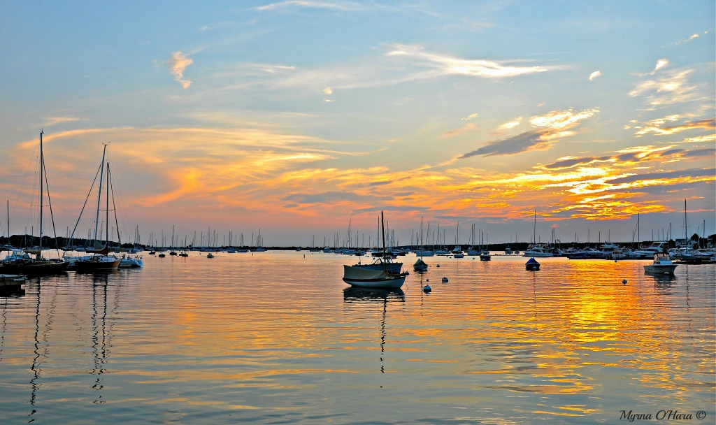 Calm Sunset looking out at Red Brook Harbor. by sailingmusic