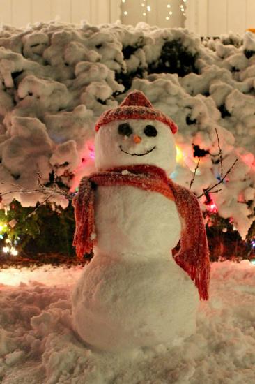 First Winter Storm Snowman by lauriehiggins
