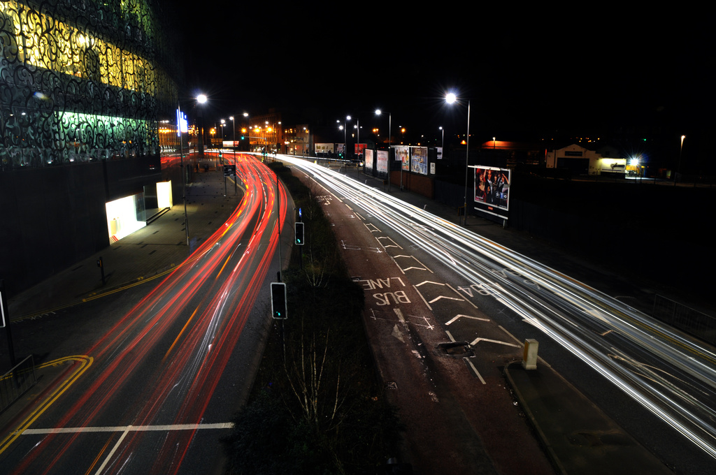 Light trails in Leicester by seanoneill