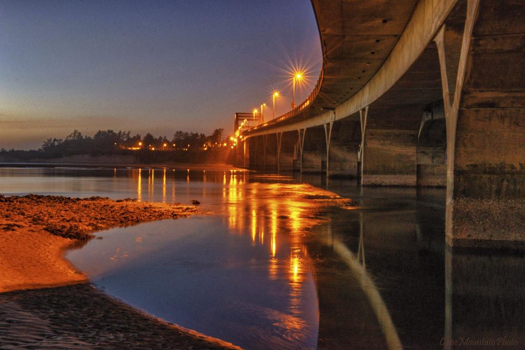 Waldport Bridge Twilight Color by jgpittenger