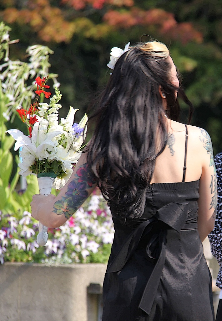 Bridesmaid and flowers by seattle