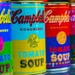 Four coloured Campbell's Soup Cans by corymbia