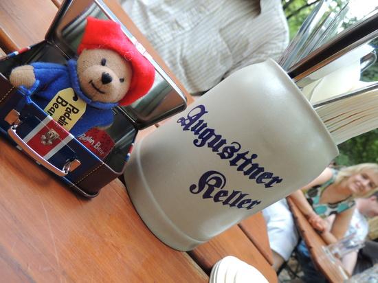 Paddington visits Augustiner Keller  by bizziebeeme