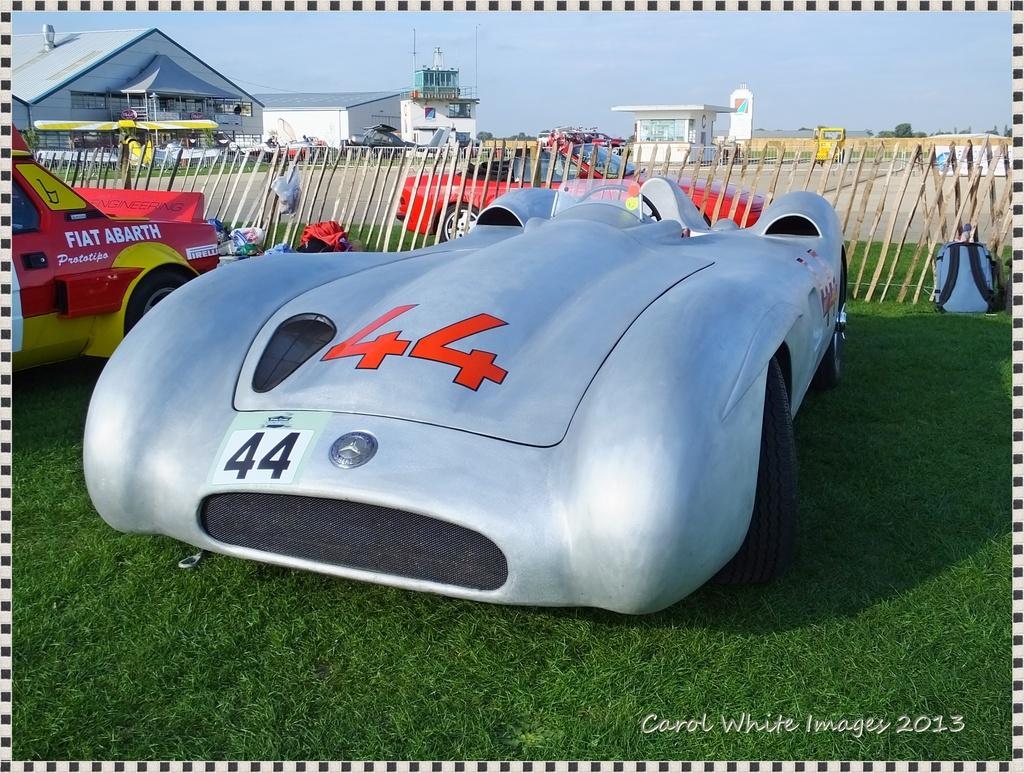 Vintage Silver Mercedes Racing Car by carolmw