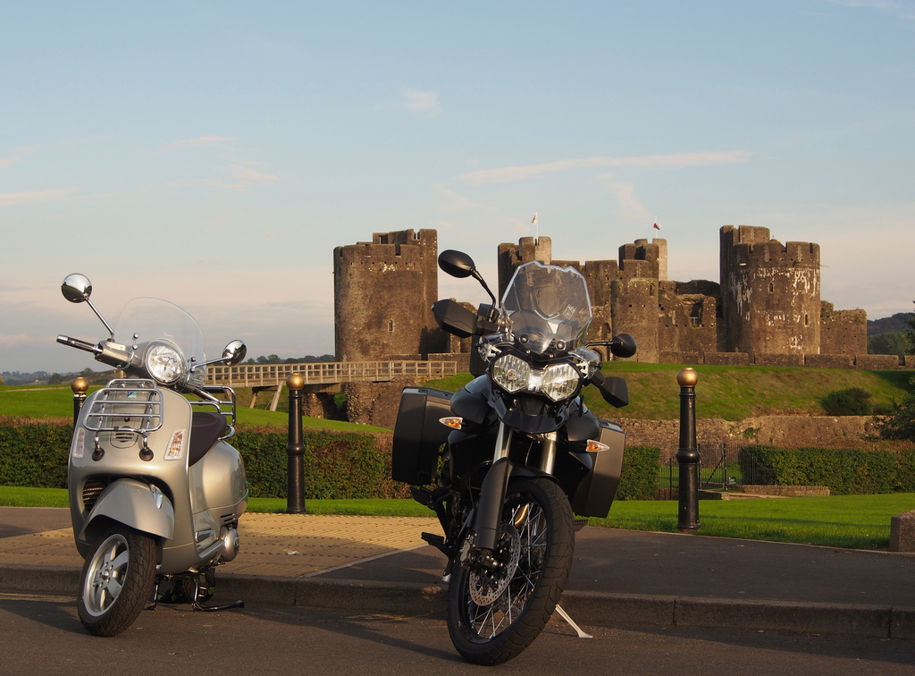 my new Vespa - visiting Caerphilly, Wales by lbmcshutter