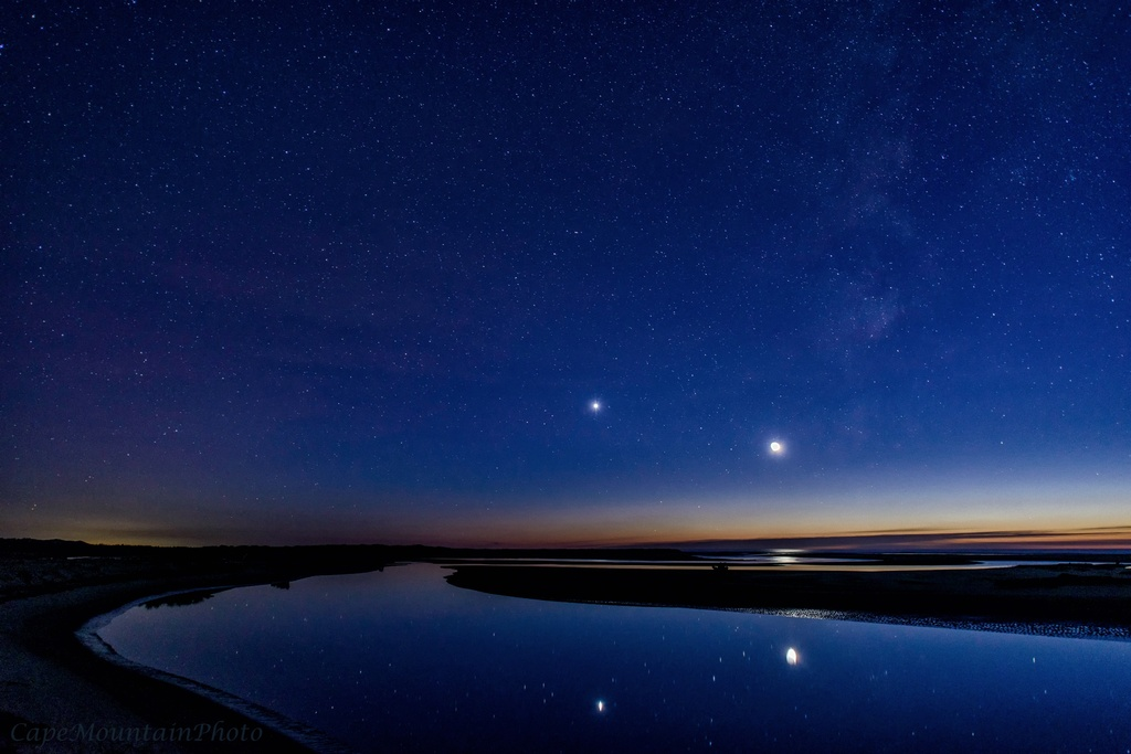 Siltcoos Outlet Stars, Venus and New Moon by jgpittenger