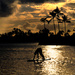 Surfboard Yoga at Sunset on Oahu by taffy