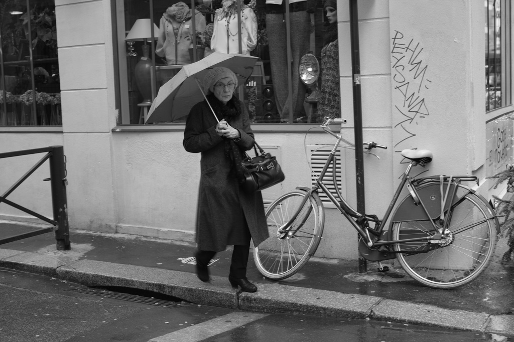 On my way to see a Vivian Maier Exhibition in Paris that was extended to January 11th.  We rounded the corner at the same time.  She had her umbrella, I had my camera! by seattle