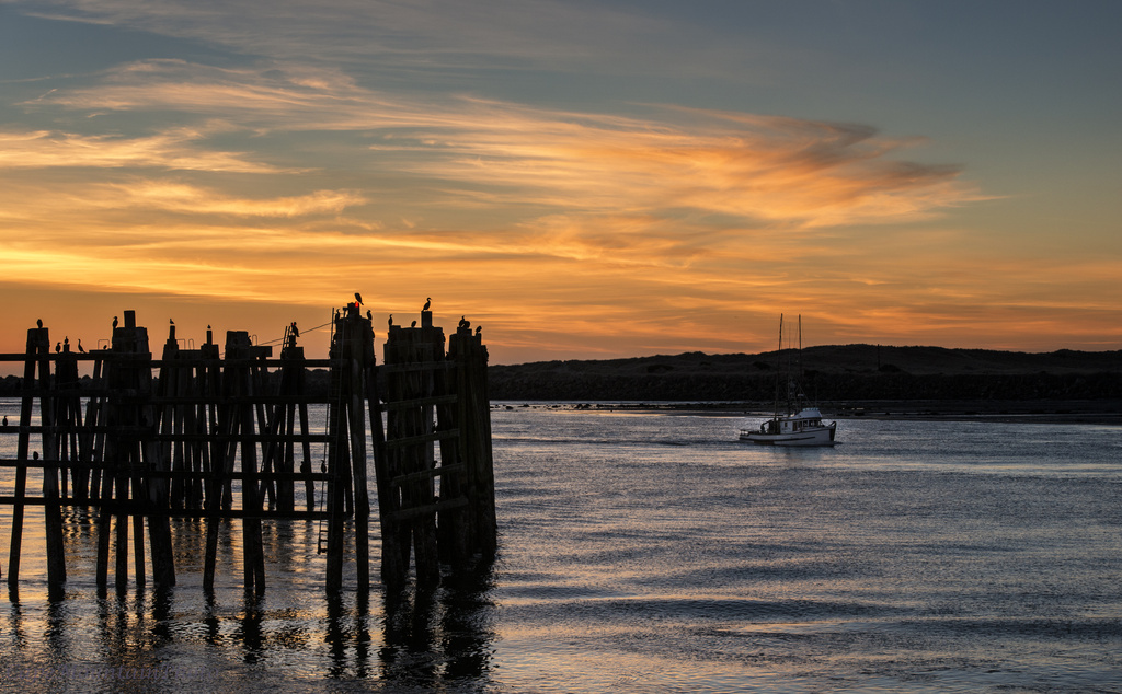 Newport Sunset With Cormorants and Boat  by jgpittenger