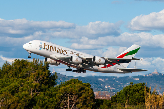 51/365: Emirates A380 at dusk by jborrases
