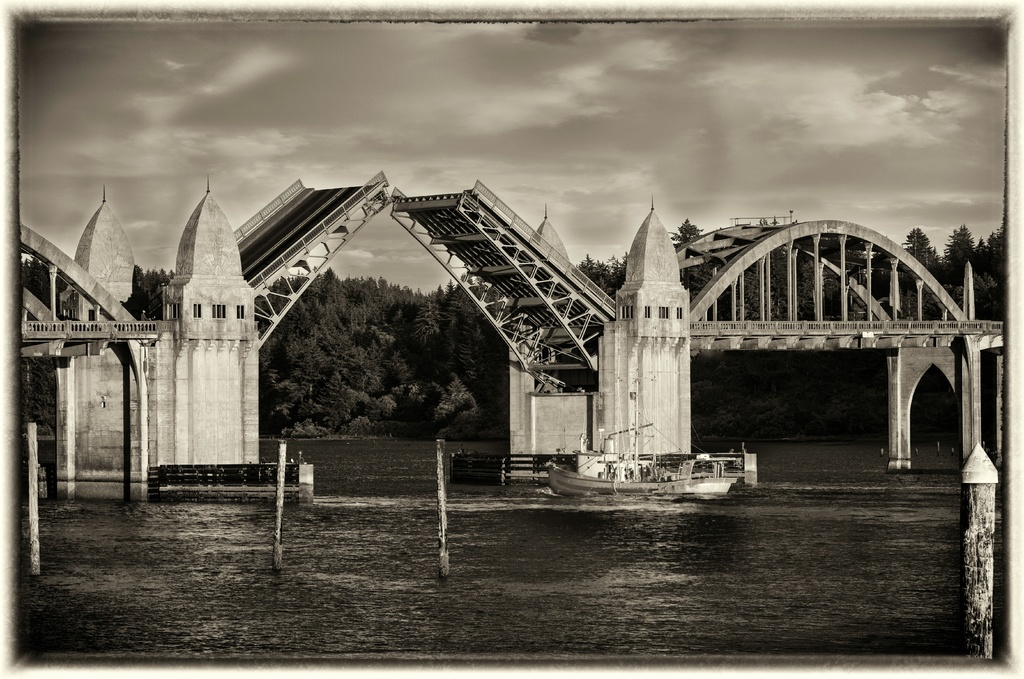 Bridge Is Up In Black and White by jgpittenger