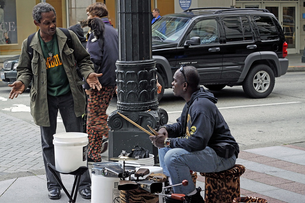 Street Drumming- Working the Street. by seattle