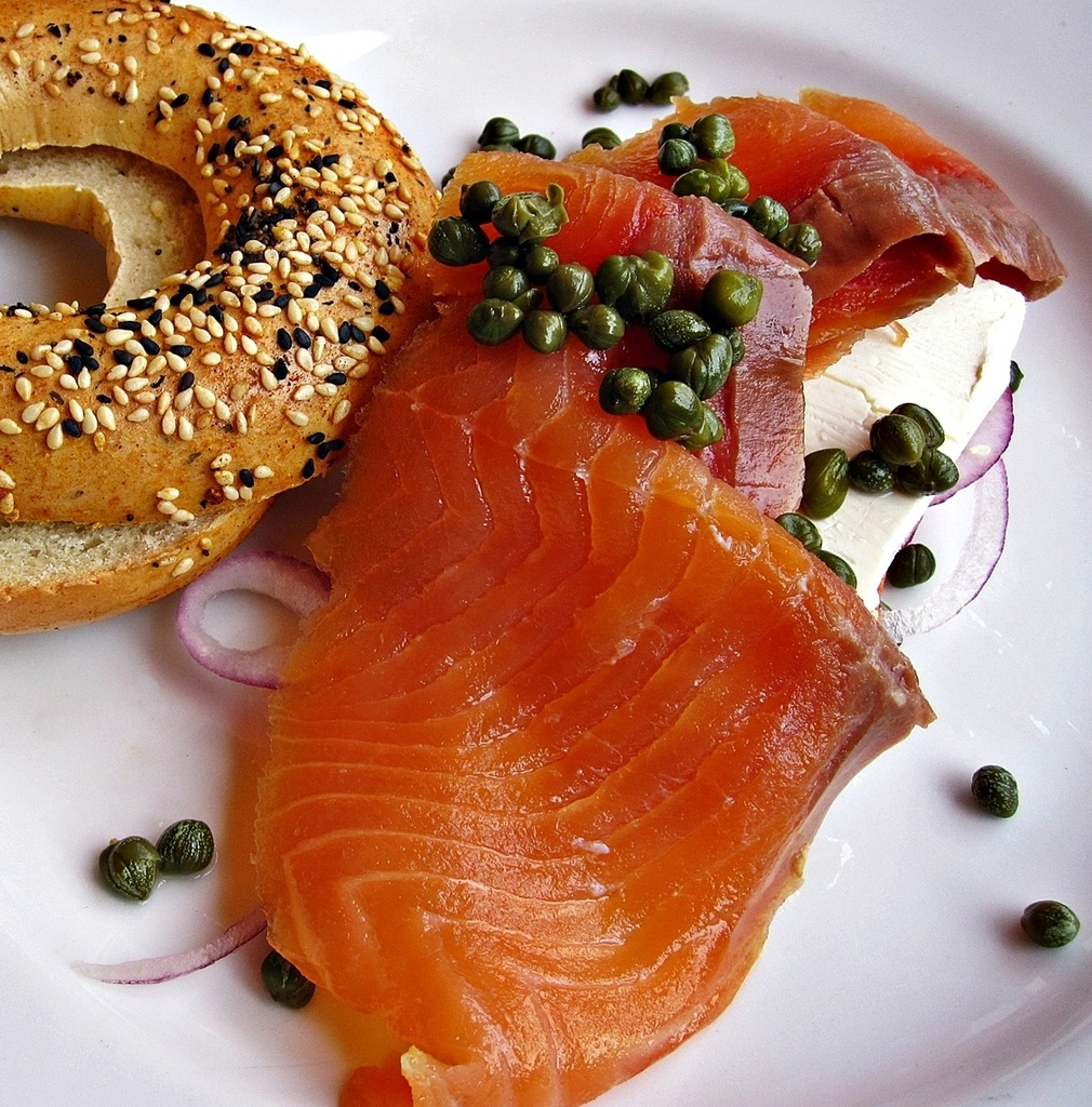 Smoked Maine Salmon, Bagel, Cream Cheese, Onions and Capers by soboy5