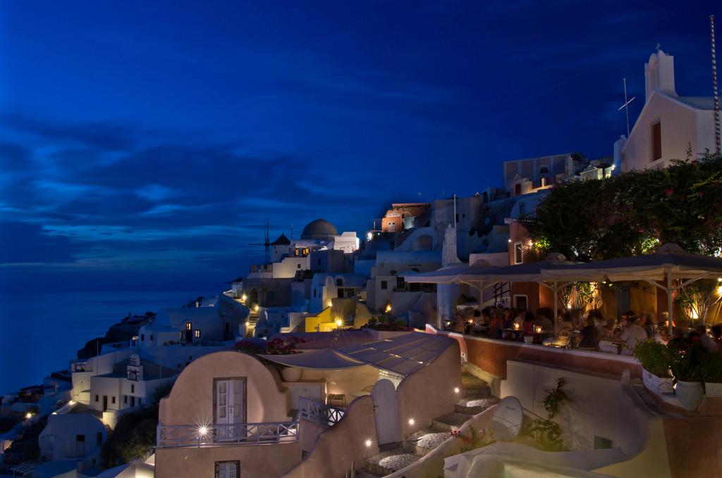 Santorini Blue Hour by vickisfotos