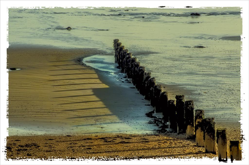 Wooden groynes,Bognor beach  by ivan