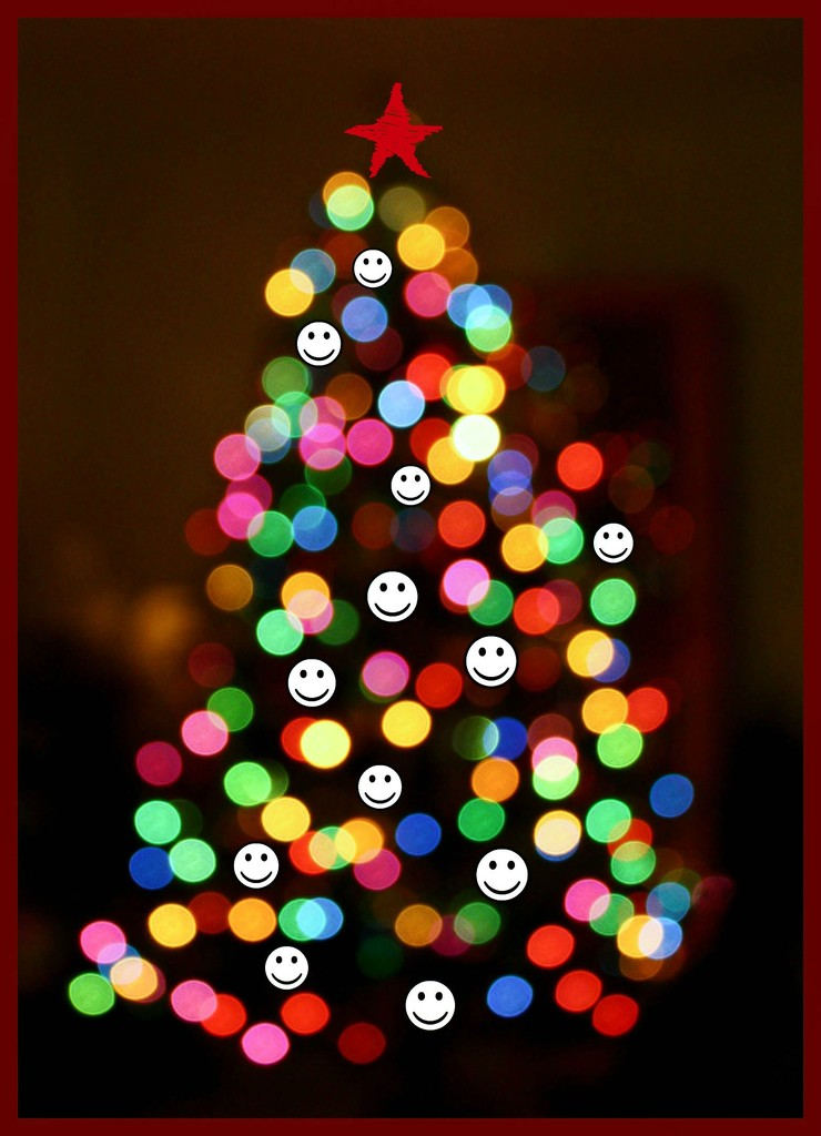 Holiday 14 - Bokeh tree with smilies by mittens