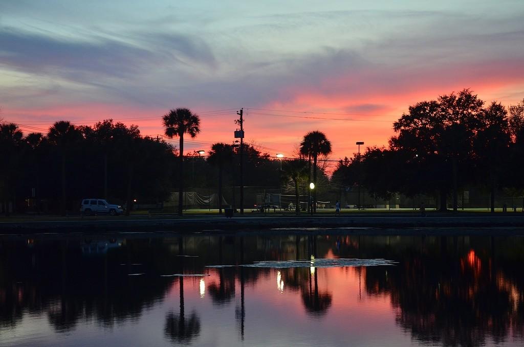 Colonial Lake sunset, Charleston, SC by congaree