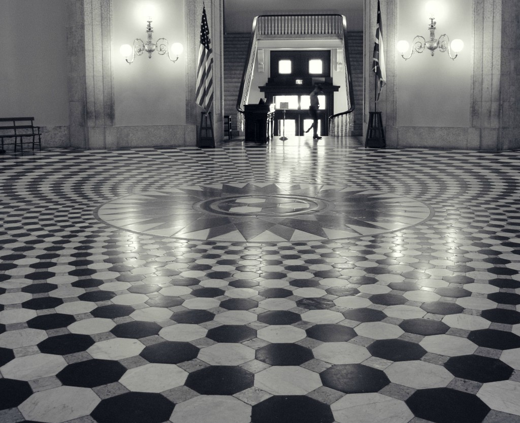 The Security Guard and Hypnotic Floor by alophoto