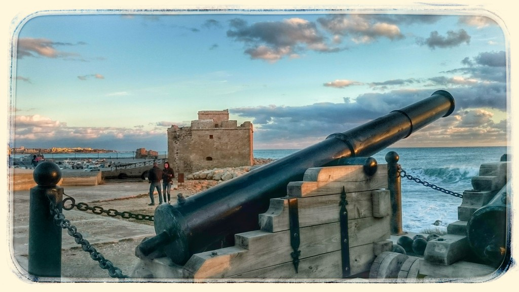 Cannon And Fort, Paphos Harbour, Cyprus  by carolmw