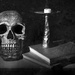 skull, book and candle