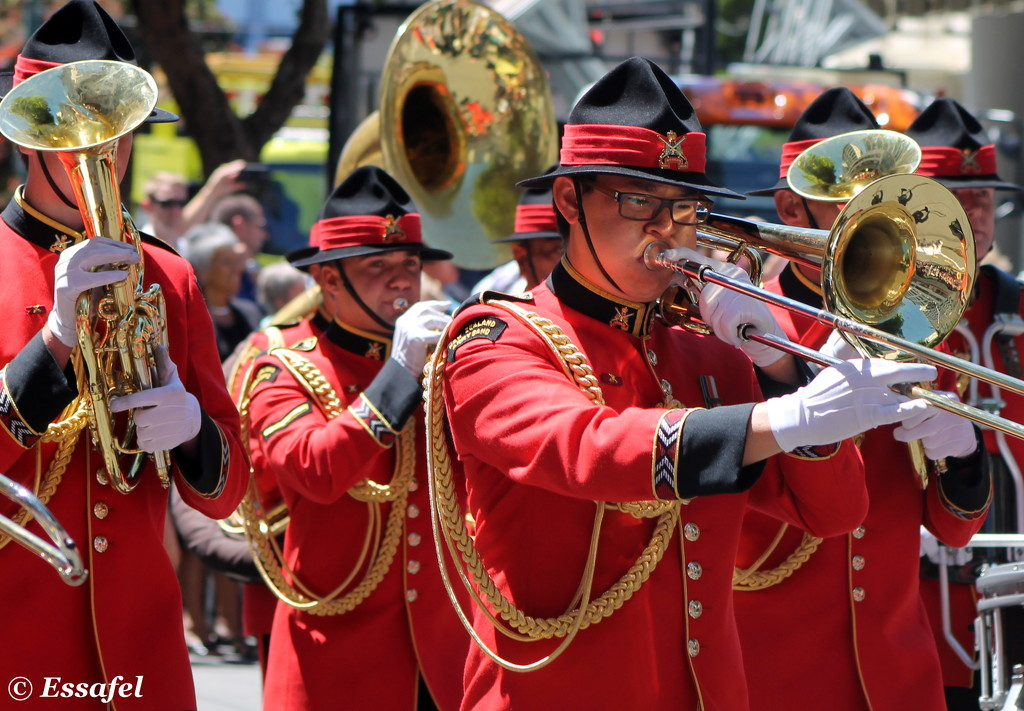 20150207 Wellington Sevens Parade brass reflections by essafel