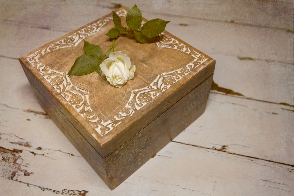Wooden box with a rose by suebarni