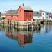 Iconic red building on the wharf in Rockport, MA