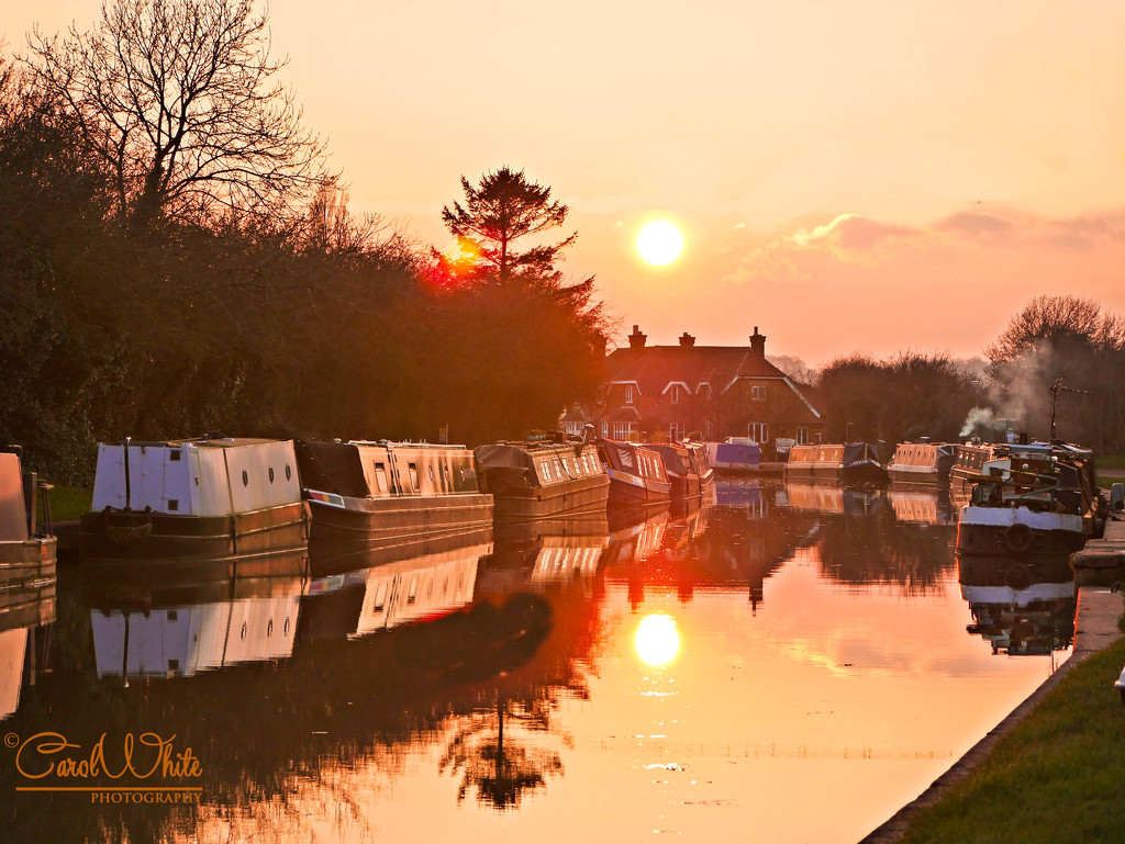 Sunset And Reflections On The Grand Union Canal by carolmw