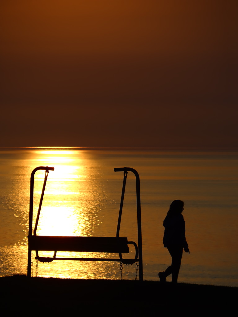 Girl,Sun, Bench and Lake Erie by brillomick