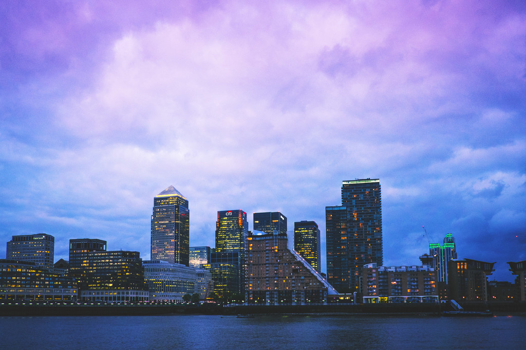 Day 128, Year 3 - Blue Hour Over Canary Wharf by stevecameras