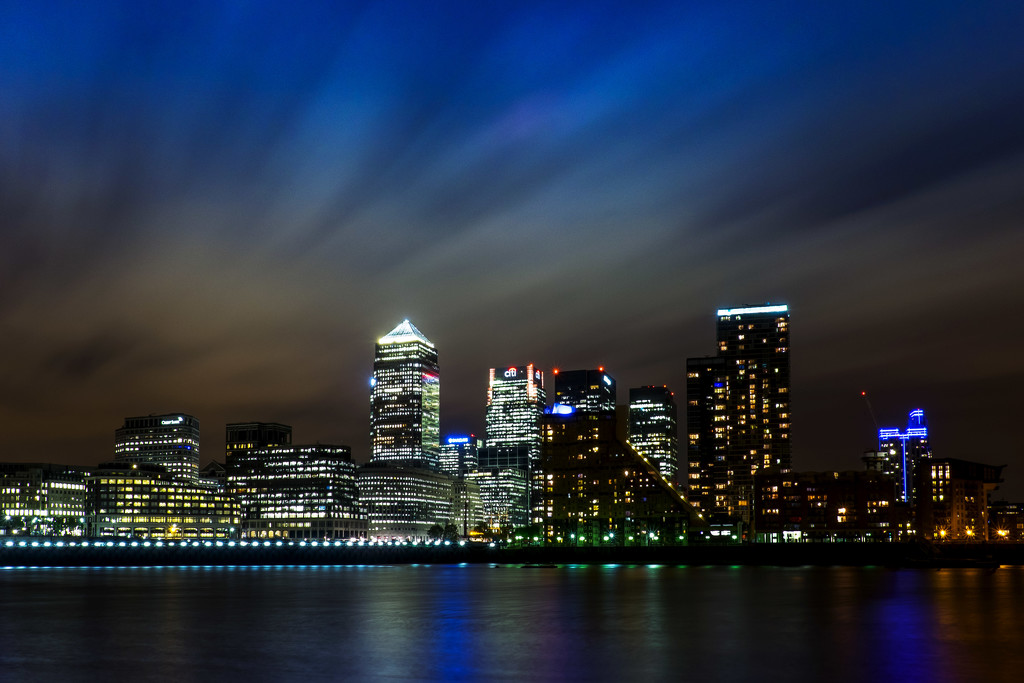 Day 130, Year 3 - Nighttime Over Canary Wharf by stevecameras