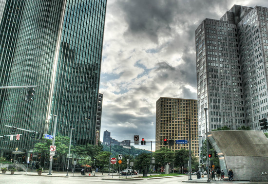 Street in downtown Pittsburgh by mittens
