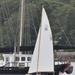 Sailing past a big schooner.