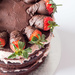 Triple layer chocolate and strawberry cake